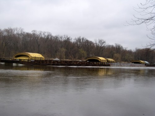 Three loaded barges on the Minnesota River