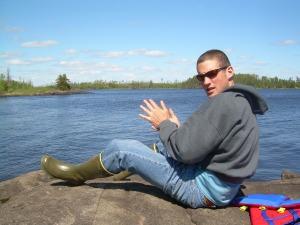 Joe Usset on Gabbro Lake, BWCAW May 2007